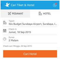 Gambar: Tampilan halaman pencarian di aplikasi Traveloka