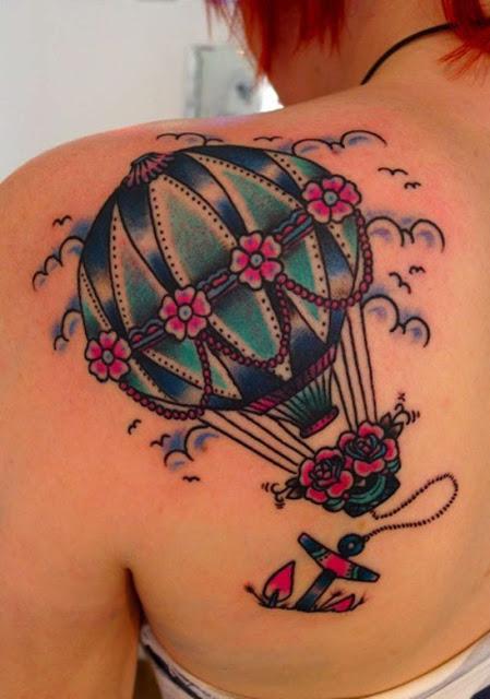 Tatuagem de Balão Mais âncora