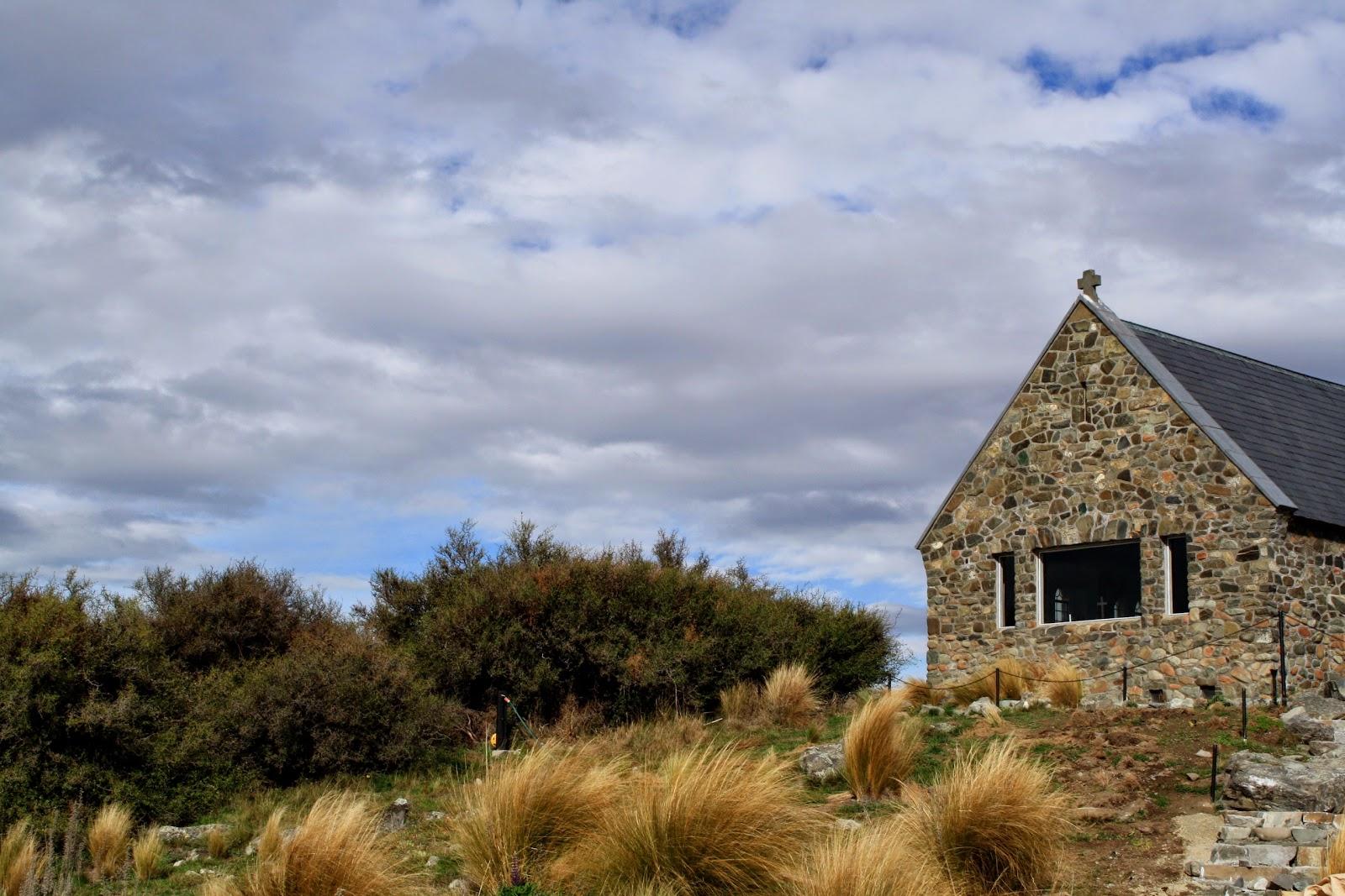 The outside of The Church of the Good Shepard at Lake Tekapo.