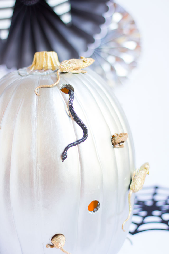 metallic silver and gold pumpkin