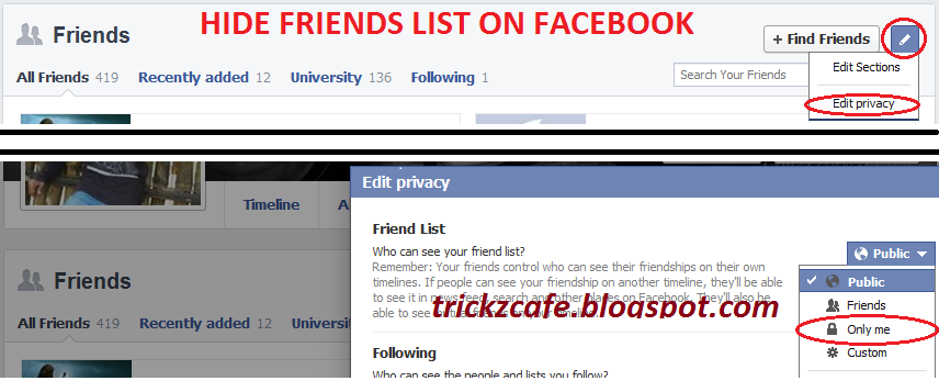 Hide Friends List From Others On Facebook