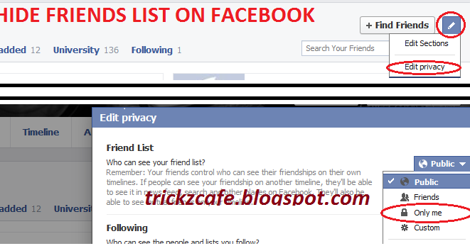 Hide Friends List From Others On Facebook | Trickz Cafe