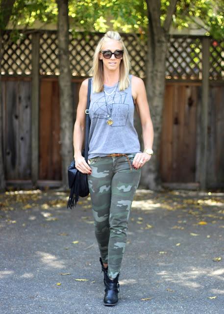 camo jeans booties