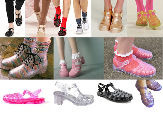 90's shoes, jelly shoes, jelly sandals, glittery