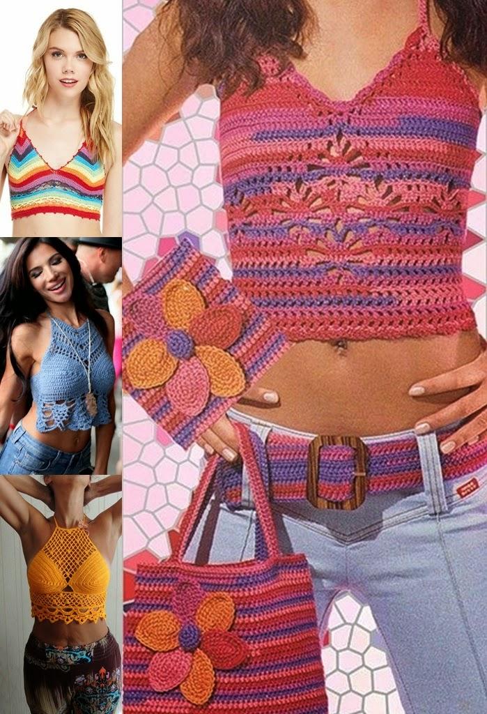 Top em rende e crochet malha com franjas  verão 2015