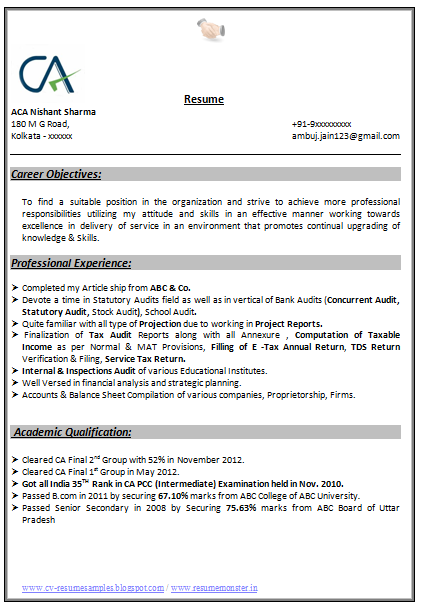 ... Resume Samples with Free Download: Indian Chartered Accountant Resume