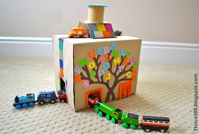 Turn a cardboard box into a fun train and car tunnel toy