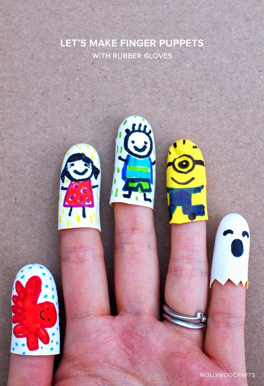 rubber glove finger puppets