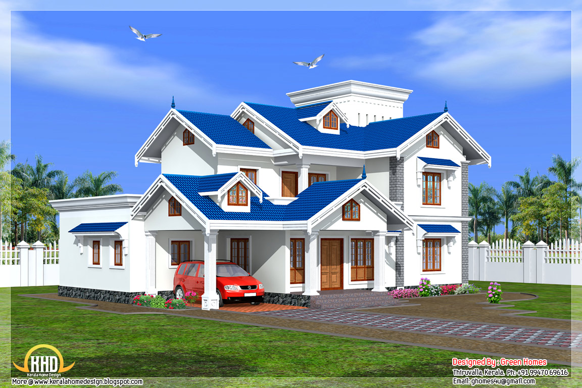 Beautiful 4 bedroom kerala house kerala home design and for Beautiful houses photos