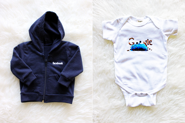 Facebook baby hoodie and Google cookie monster onesie