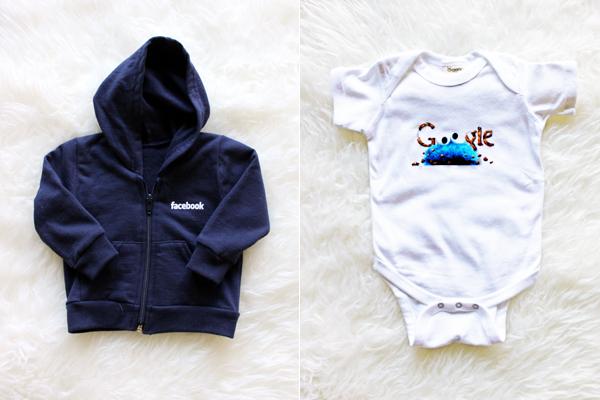 Facebook baby hoodie and Google cookie monster onesie