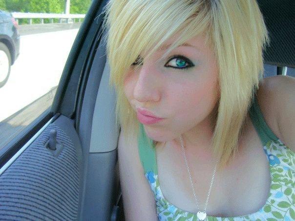 cute short blonde blunt emo hairstyles