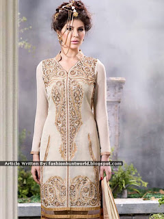 Indian Embroidered Georgette Suits [Black And Cream]