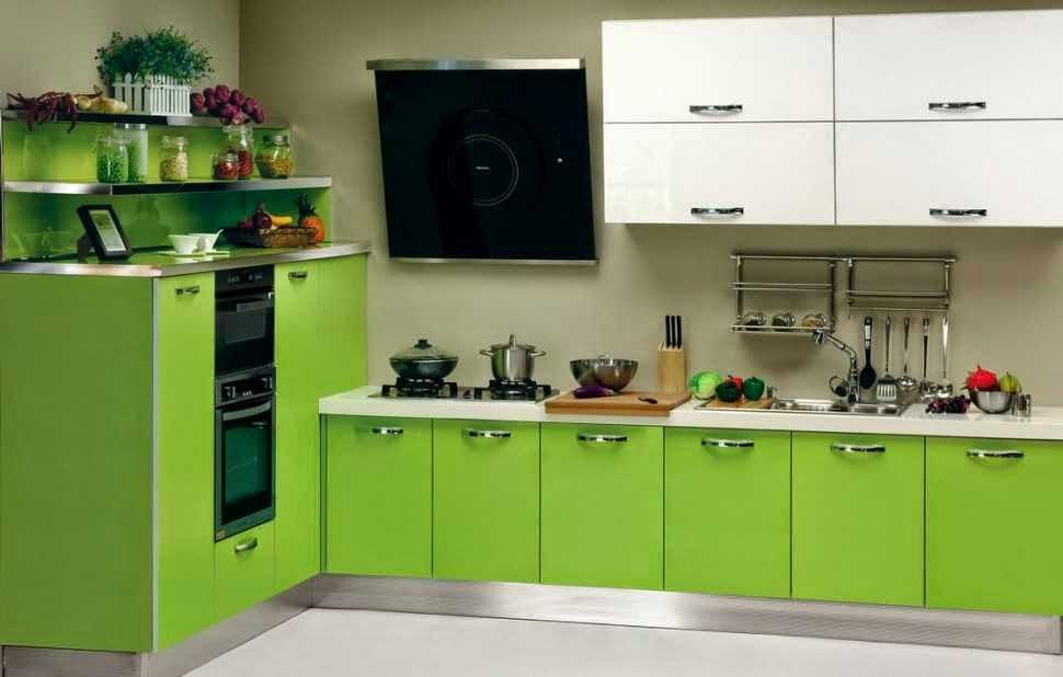 Desain Dapur Untuk Ruang Sempit Rumah Minimalis warna hijau