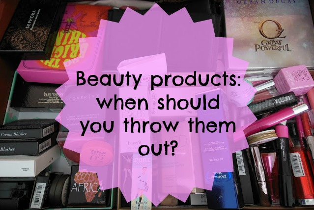 When should I throw out beauty products text over drawer of makeup