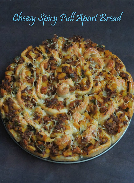 Cheesy Indianized pull apart bread