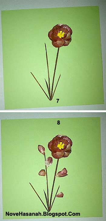 langkah-langkah membuat hiasan dinding berbentuk bunga dari kulit bawang