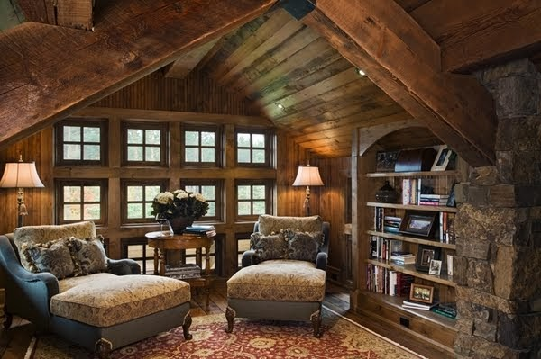 Dream home interiors beautiful wood and stone sitting room for Beautiful sitting rooms