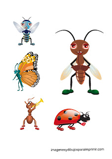 grasshopper, dragonfly, spider, bee infant Printable Insects