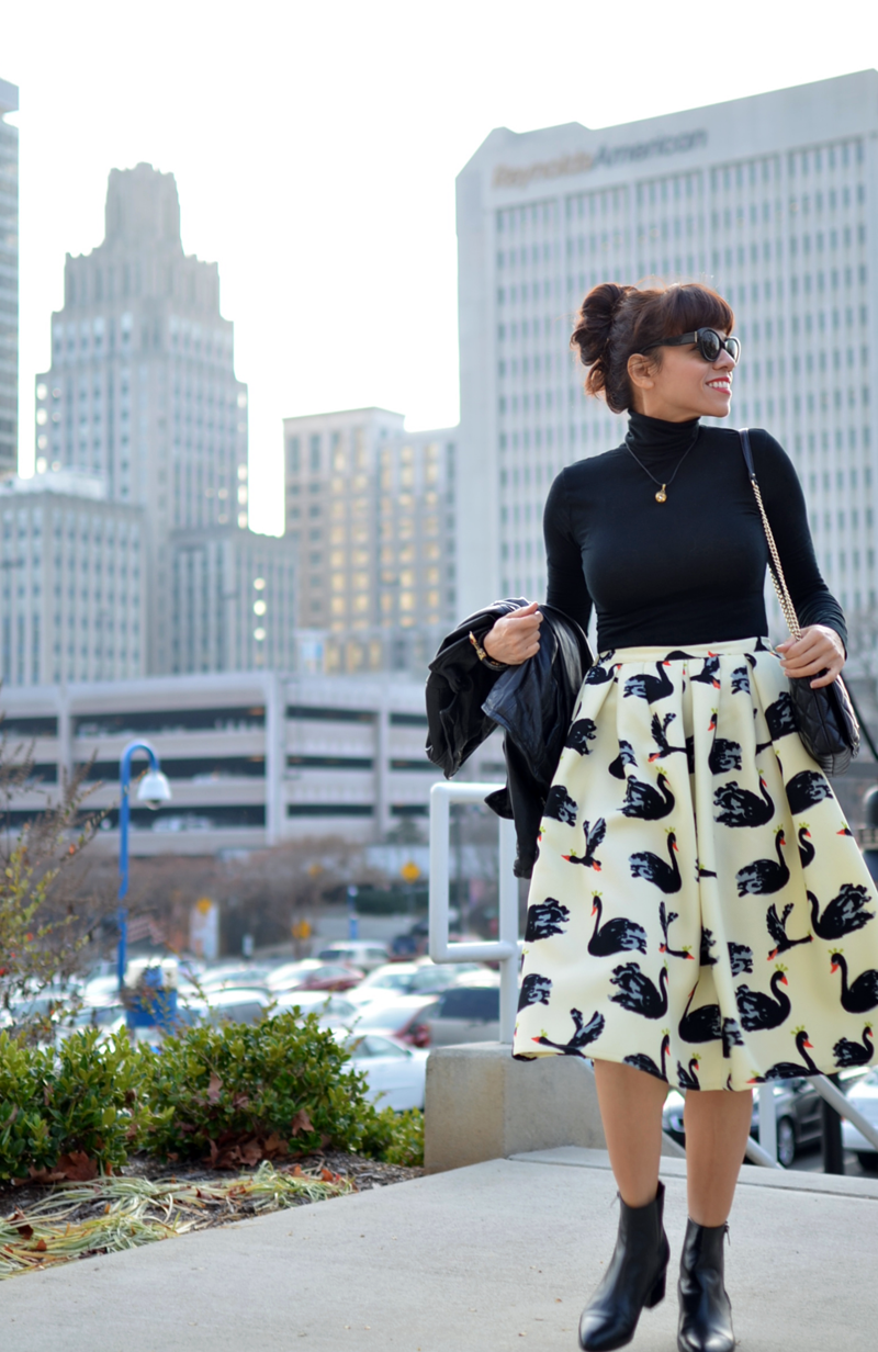 Midi skirt and booties outfit