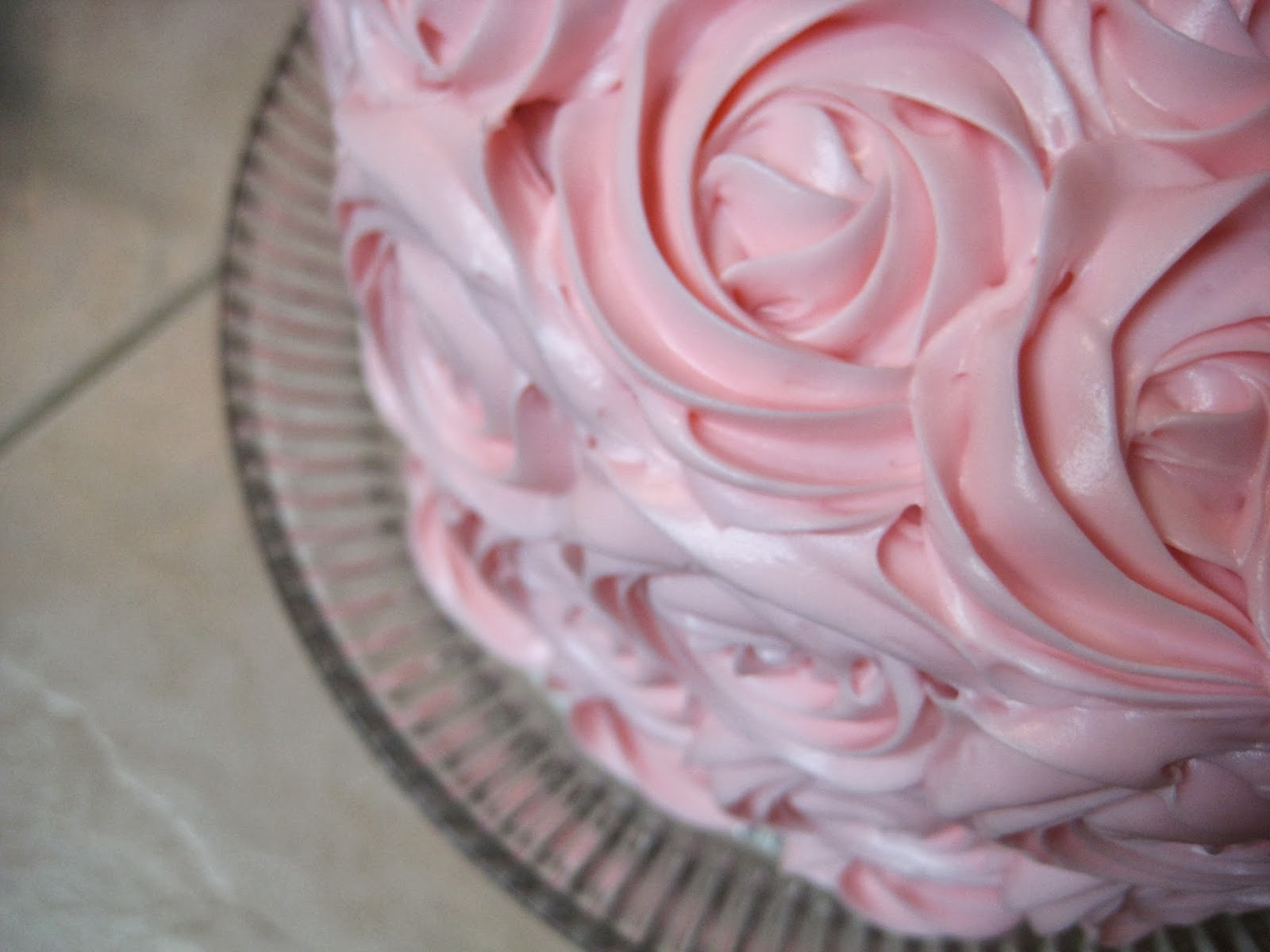 Shabby Chic Baby Shower Pink Rose Cake - Close-Up Overhead View