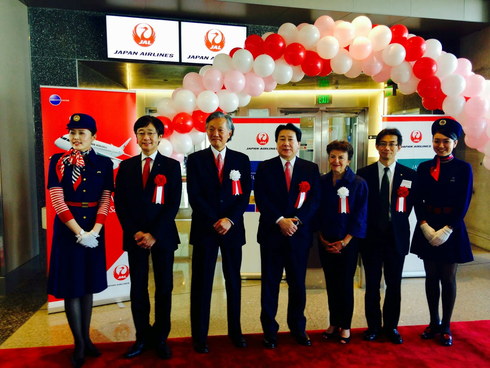 JAL President Ueki at JL069 inaugural ceremony at LAX