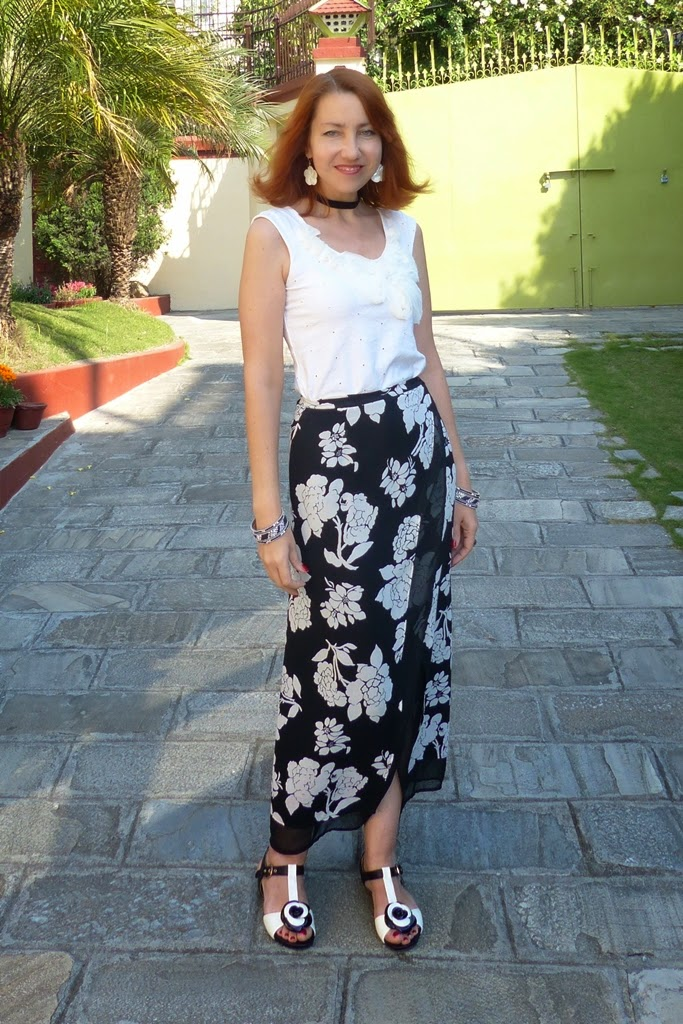 Local style Black and white floral wrap skirt