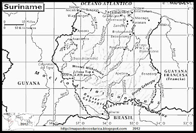 Mapa de SURINAM, Atlas, blanco y negro