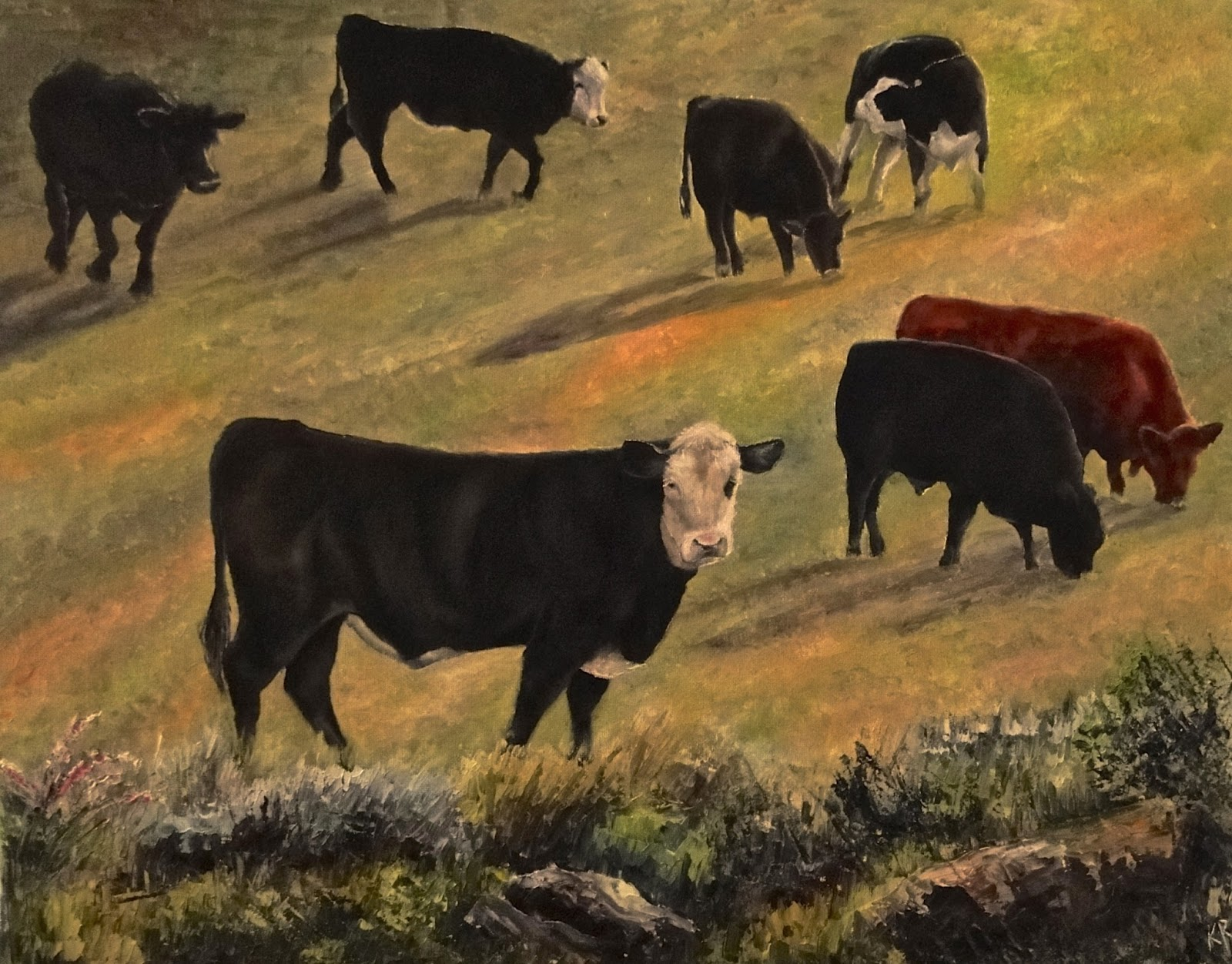 oil painting of cows in a field, pet paintings by karen