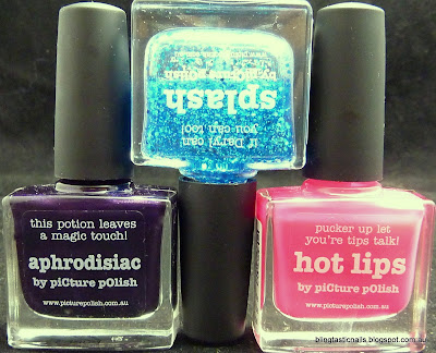 Picture Polish Aphrodisiac, Splash and Hot Lips