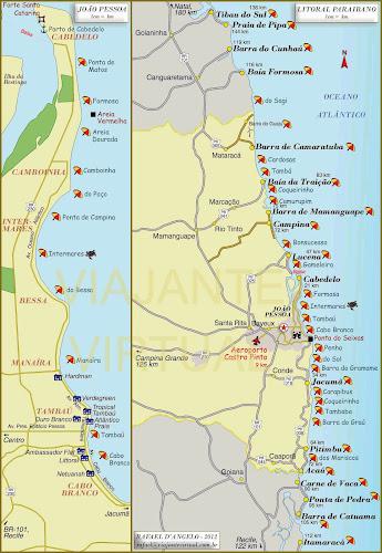 Mapa das praias de João Pessoa e do litoral da Paraiba