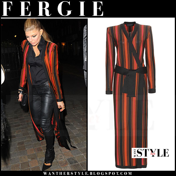 Fergie in striped red and black long balmain cardigan and black leather balmain pants what she wore streetstyle