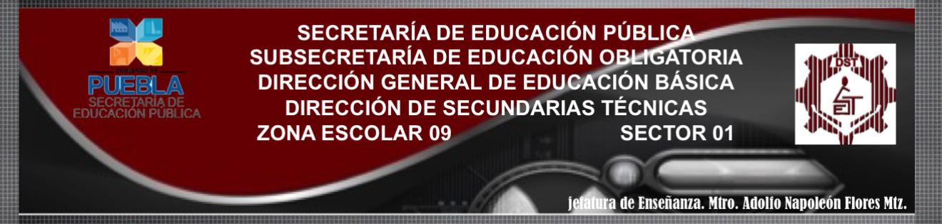 Jefe de Enseñanza de Esc. Sec. Técnicas. Zona 09. Mtro. Adolfo Napoleón Flores Mtz. Puebla