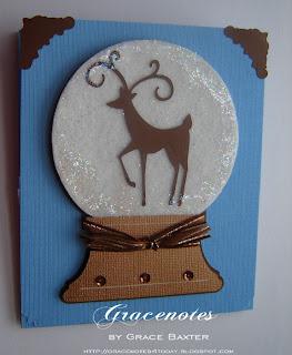 deer snow globe card front