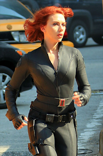Scarlett Johansson hot black widow Avengers movie black latex redhead HD HQ picture