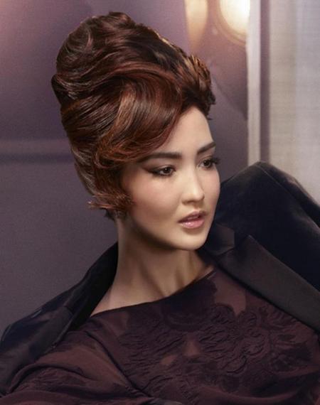 ретро прическа с обем, вдигната коса