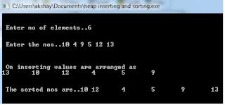 c program for Heap sort