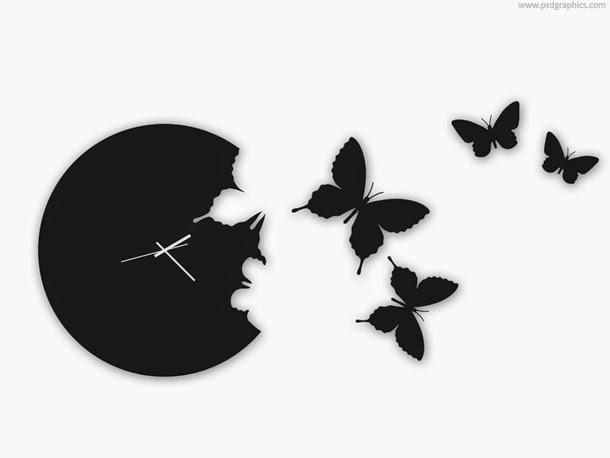 Butterfly Wall Clock PSD
