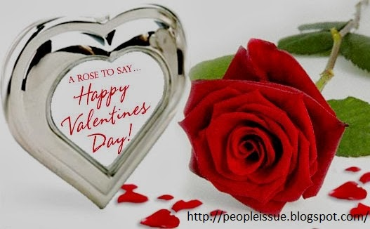People Issues Red Roses With Hearts Saying Happy Valentines Day