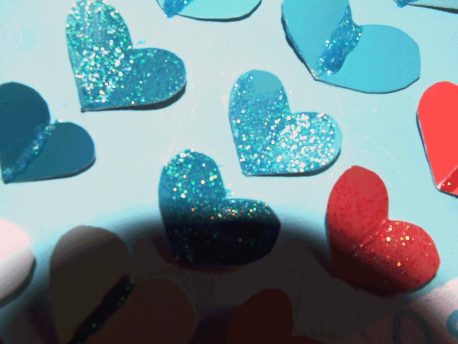 Glittered hearts