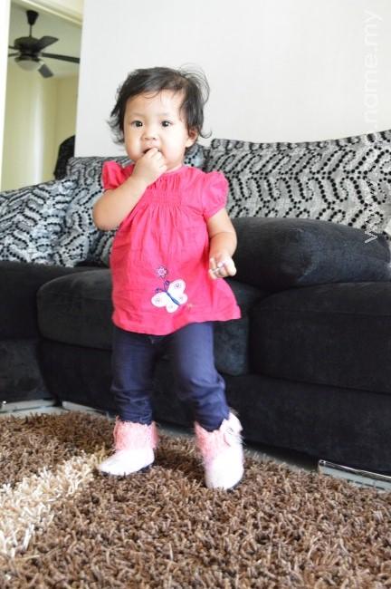 Kasut boot pink Auni