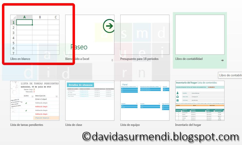 Plantilla para crear un nuevo documento en Excel 2013.