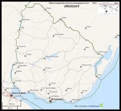 Mapa de URUGUAY, OpenStreetMap