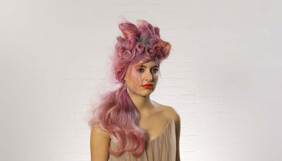 Wella, Trend Vision, pastel, hair, fishtail, neon, mermaid hair, pink, rolls, Marie Antoinette