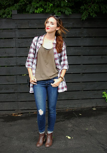 free people flannel, fall style, j brand 811 jeans, brown booties, red lips, dkny sunglasses, fall fashion, nashville street style