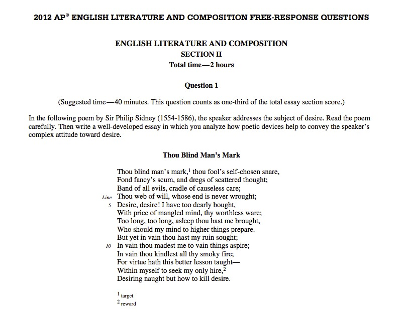 ap lit prose essay questions If you are preparing your students for the ap exams in english literature, it can be helpful to give them some essay prompts to work with the.