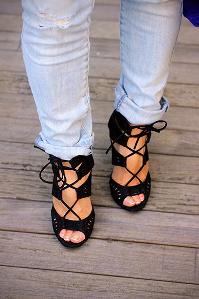 Zara black leather lace up high heel sandals