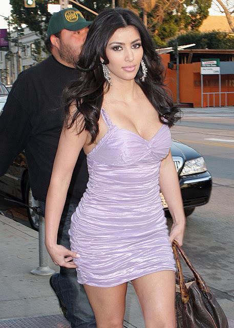 Kim Kardashian In A Purple Dresses