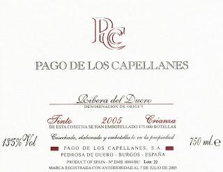 Etiqueta de la firma de vinos como la que formó parte de las cenas del ayuntamiento