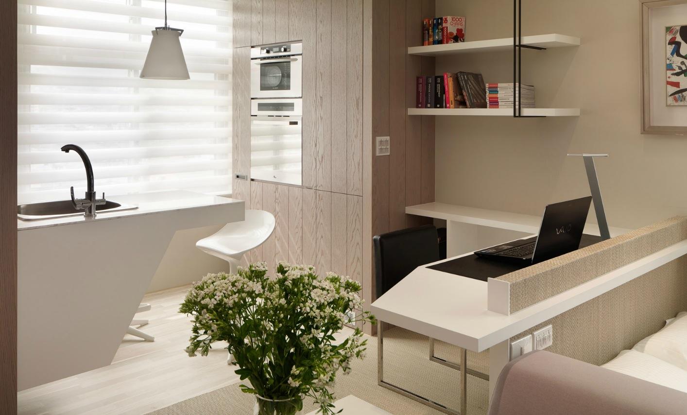 Desain Interior Dapur Dan Ruang Kerja Apartemen 1 Kamar